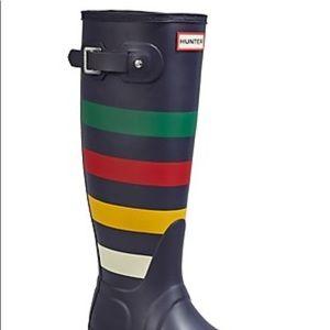 Brand new Hunter x HBC Stripes Tall Navy Boots